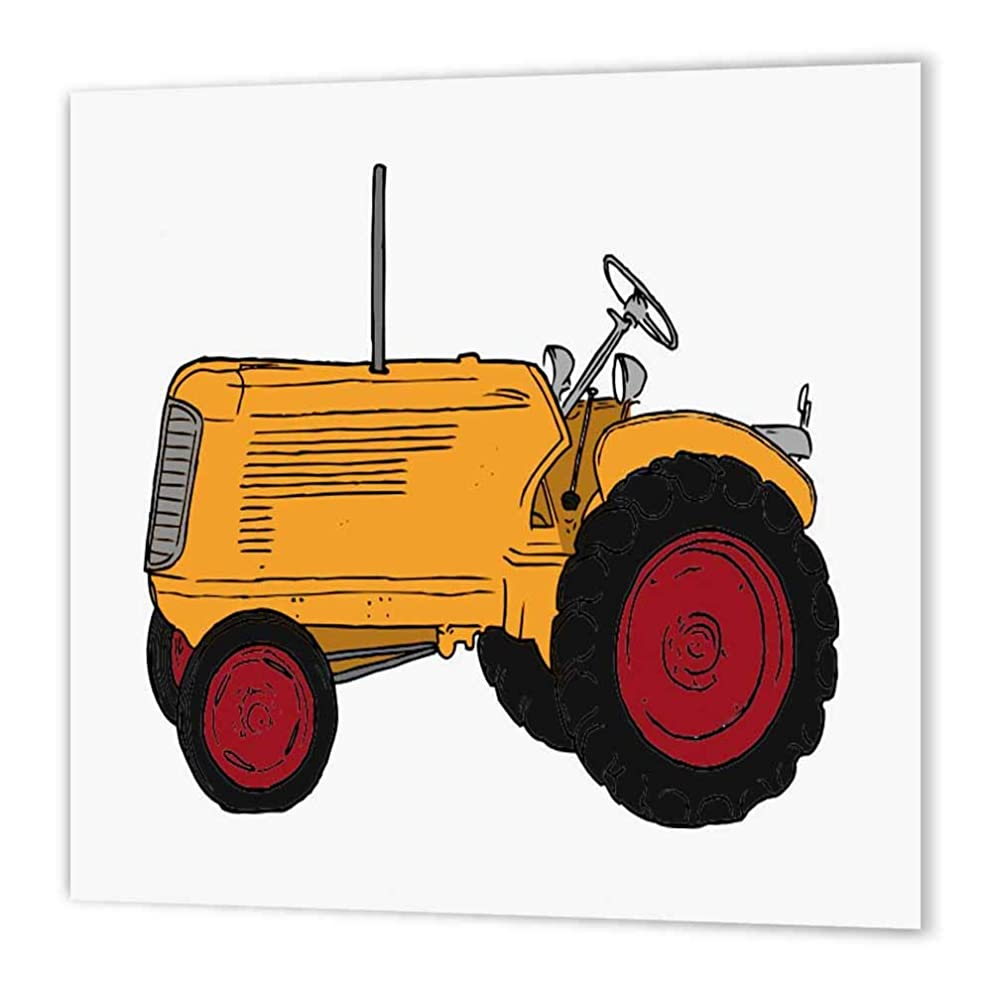 3dRose ht_41672_3 Large Orange Tractor-Iron on Heat Transfer Paper for White Material, 10 by 10-Inch