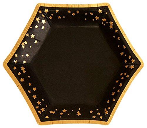 Neviti 773338 Papierteller, schwarz/gold, S