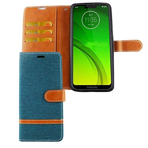 König Design mobiele telefoon hoes compatibel met Motorola Moto G7 beschermhoes case cover kaartenvak etui portefeuille, Groen - jeans look