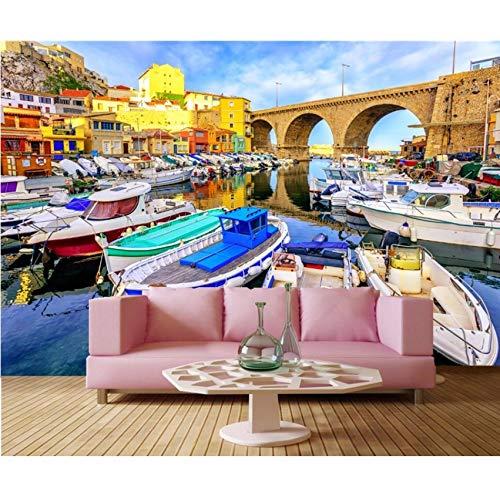 Pmhhc Frankrijk Bruggen Huizen Motorboot Boten Stad Behang Restaurant Bar Woonkamer Tv Bank Muur Slaapkamer 3D Mural 280x200cm