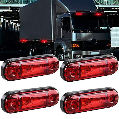 Yifengshun 4 pezzi LED Indicatore di posizione laterale Luce anteriore Posteriore Luci di posizione laterale 12V per camion Camper Van Camion RV Indicatori di direzione(Rosso)