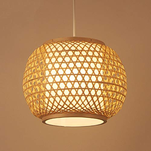 NSZHDY Lámpara de ratán Hecha a Mano, lámpara de bambú de Mimbre, Regalo de inauguración, lámpara de Techo Retro, Restaurante, Sala de Estar, café, luz Colgante E27 (40 cm)
