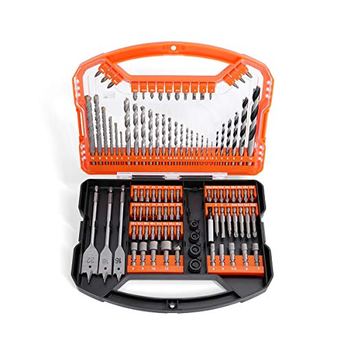 WELLCUT 101-Piece Multi-Functional Ultra Shank Drill & Screwdriver Bit Set for Metal, Masonry, Wood, Aluminium, Plastic, Includes Titanium HSS Screwdriver & Drill Bits