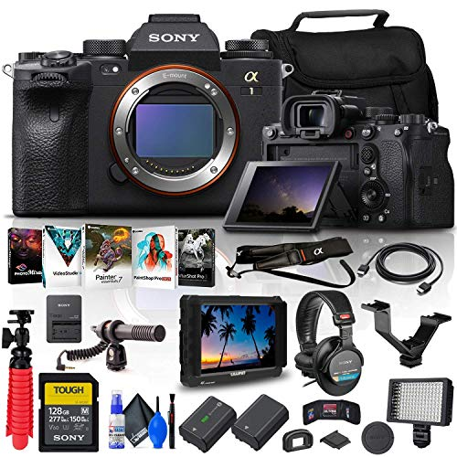 Sony Alpha 1 Mirrorless Digital Camera (Body Only) (ILCE-1/B) + 4K Monitor + Pro Headphones + 128GB Tough Memory Card + Pro Mic + Corel Photo Software + NP-FZ100 Compatible Battery + More (Renewed)