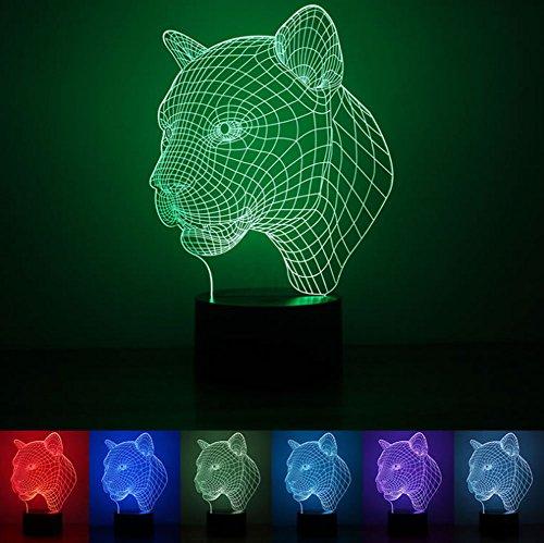 Leopard 3D LED Illusions Lampe, Nachtlicht, Zimmer Zimmerbeleuchtung Dekoration Schreibtisch Lampe, Mit 7 Farben Blinken, Knopf Schalter Und USB-Powered
