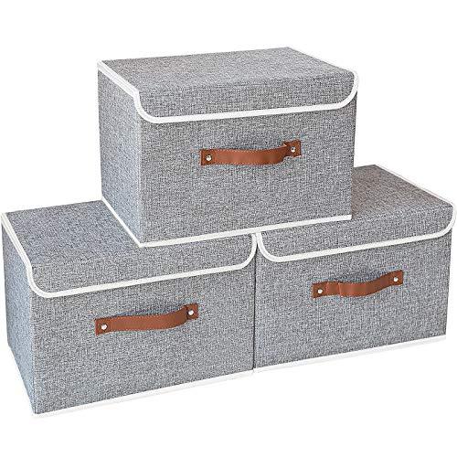 Yawinhe 3 Stück Aufbewahrungsbox mit Deckel, Faltbare Leinentuch Kleidung Ablagekorb für Handtücher, Bücher, Spielzeug, Kleidung (Grau, 38x25x25cm)