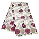 RONVITAL 5Yard Cotton African Lace Fabric 2021 Africa Dry Lace Fabric Stones Embroidery Swiss Voile Lace in Switzerland for Party Clothing (Cream&Wine red,5yards)