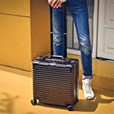Expandable Luggage,Lightweight Suitcase with Spinner Wheels,Carry-on Upright Luggage Suitcase,Durable PC+ABS Black 43x42x20cm