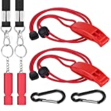 4 Pack Outdoor Loudest Emergency Survival Whistles with Lanyard, Safety Whistle Survival Shrill Loud Blast for Kayak, Life Vest, Jacket, Boating, Fishing, Boat,Camping, Hiking, Hunting (Red)