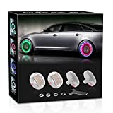AOTOINK Car Wheel Tire Lights, 4Pcs Solar LED Car Wheel Nozzle Air Valve Cap Light with Motion Sensors Flash Colorful RGB Warning Decorative Neon LED for Cars Motorcycles Bicycles