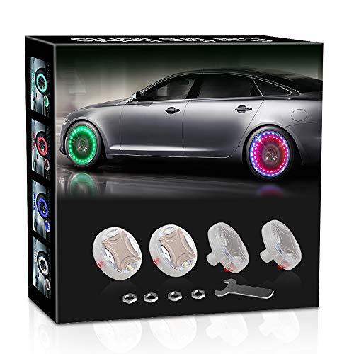 AOTOINK Car Wheel Tire Valve Cap Lights, Solar LED Car Wheel Tire Light Colorful RGB LED Nozzle Air Valve Cap Light with Motion Sensors for Motorcycles Cars 4PCS