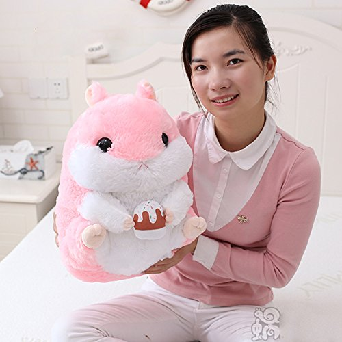KaiPoint Cute Fat Hamster Doll Plush Toys Birthday Present Plush Stuffed Animal Toys (Pink / Holding cake-40CM (15.8in)) S
