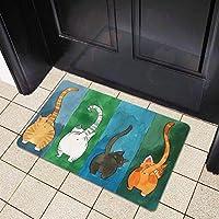 Salinr ウェルカムドアマット 玄関 マット 北欧 バスマット 足ふきマット 猫の模様の滑り止めウェルカムドアマット、室内の屋外エントランス、滑り止めのドアマット、屋外、室内、ベッドルームとバスルーム(45*70cm)