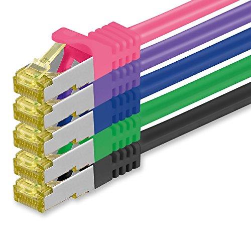 1aTTack.de Cat.7 Netzwerkkabel 1,5m 5 Farben 5 Stück Cat7 Ethernetkabel Netzwerk LAN Kabel Rohkabel 10 Gb s SFTP PIMF LSZH Set Patchkabel mit Rj 45 Stecker Cat.6a