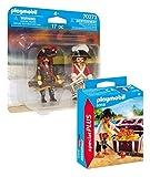 PLAYMOBIL Juego de 2 figuras de pirata con cofre del tesoro y capitán pirata 70273