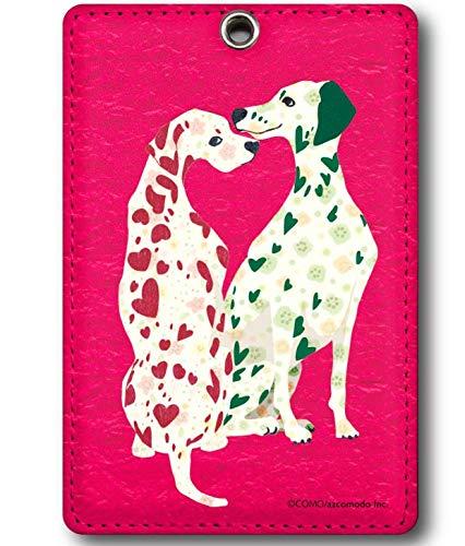 パスケース リール付き 75cm伸びる カラビナ付き 定期入れ 子供 レディース COMO デザイン カード入れ 動物 ダルメシアン ピンク como コモ reel2074
