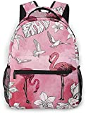 gdingxiantengsubaihuoshang Zaino per Laptop da Viaggio Zaino per Fiori Tropicali Flamingo Casual College Zaino per Scuola