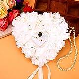 Fydun Rose Wedding Ring Box, Romantic Rose Favores de la Boda Heart Pearl Gift Ring Box Cojín de Almohada para la celebración del Matrimonio