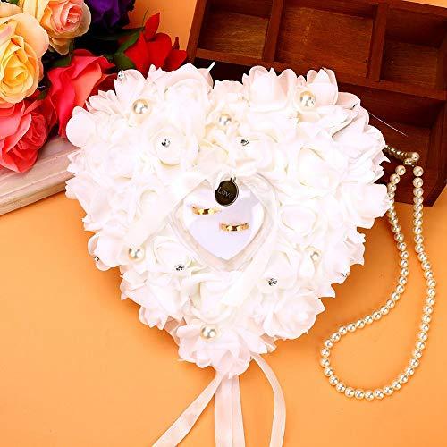 Caja de Anillo de Bodas, Fondo de Encaje Soporte de Anillo en Forma de corazón Cojín de Anillo Rosa con Cinta Decoración de Flor de Espuma de Perla de Cinta