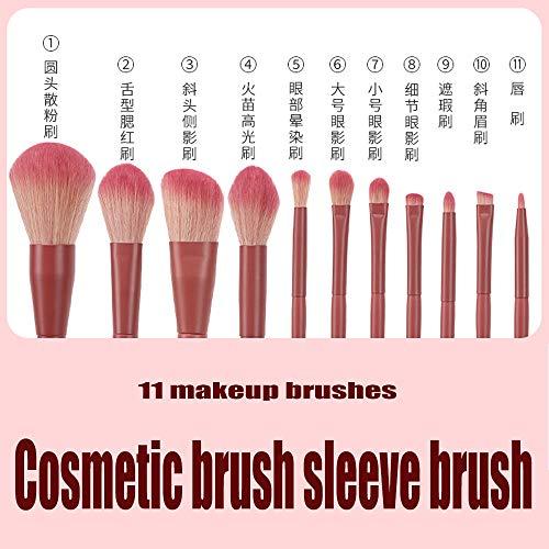 Jieqiong Ensemble de Pinceau de décor de Maquillage de 11 Outils de Maquillage Ensemble de Brosse Super Doux,Dark Green,Magnet Barrel