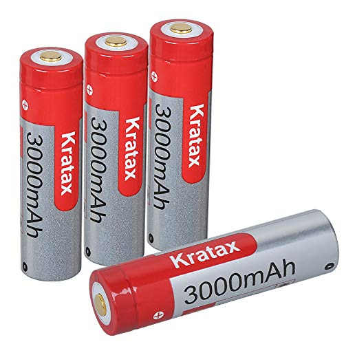電池 18650バッテリー 4本 3.7V 3000mAh 充電池 長さ69mm 保護回路あり トップライト/LED戦術懐中電灯/ヘッドランプ等に適用 ケース付き(電池 4本)
