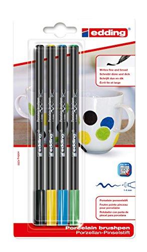 edding 4200 Porzellanpinselstift - schwarz, gelb, blau, grün - 4 Stifte - Pinselspitze 1-4 mm - Filzstift für Keramik, Porzellan - spülmaschinenfest, lichtechte Tinte, schnell trocknend