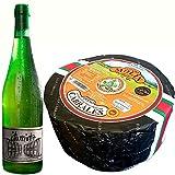Queso Cabrales Denominación de Origen Protegida Peso Aproximado 2,5 kilos - Botella de Sidra Natural del País Vasco de REGALO Queso - Galardonado en varias ediciones con el premio World Cheese Award