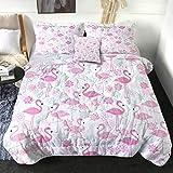 Sleepwish Comforter Set Queen Size Pastel Pink Flamingo Luxury Soft Bedding Set 4 Pcs All Season Cute Lotus Flower Pattern Bed Comforter Set (1 Comforter, 2 Pillow Sham, 1 Throw Pillow Cover)