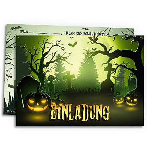 12x Halloween Einladungskarten für eine schaurig schöne Halloween-Party | Friedhof des Grauens | Einladung für Grusel-Party Kindergeburtstag Geburtstag Kinder-party Einladungen Erwachsene Teenager