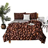 4 Bedding Cover Set Bed Fitted Sheet Sheets for Queen Size Bed Freshly Roasted Coffee Grains Aromatic Seeds Caffeine Sources Espresso Ingredient Brown no Irritation to The Skin W104 xL90