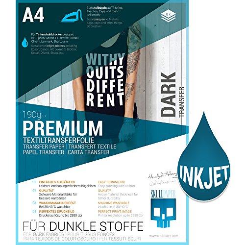 SKULLPAPER® Transferfolie für DUNKLE Stoffe - für Tintenstrahldrucker - inkl. 200+ Motive (A4-8 Blatt)