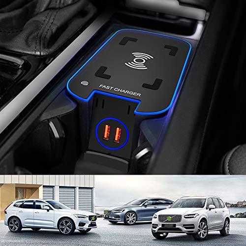 Braveking1 Cargador Inalámbrico Coche para Volvo XC90 XC60 S90 V90 V60 S60 2021 2020 2019 Consola Central Panel, 15W QC3.0 Carga Rápida Auto Teléfono Cargador con 2 18W USB Puertos para Qi Tel
