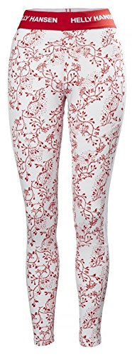 Helly Hansen Women's HH LIFA Active Graphic Print Lightweight 2-Layer Moisture Wicking Tech Thermal Baselayer Pant Bottom, 110 Flag Red / Winter Berry Pr, Large