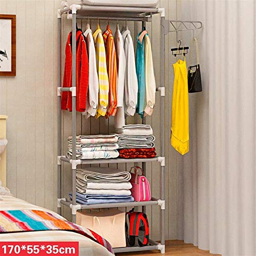 Eenvoudige Metallic Iron Kapstok Permanent Kapstok hangende kleren Rack Storage Rack kledingrek Bedroom Furniture Thuis Organizer (Color : Silver Gray)