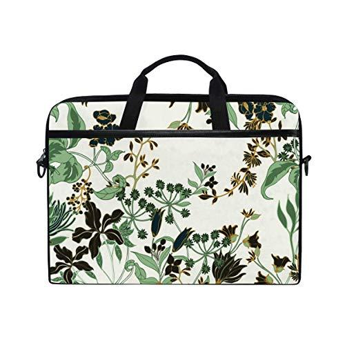 Laptop Sleeve Case,Laptop Bag,Flower Leaves Plants Exotic Water Briefcase Messenger Notebook Computer Bag with Shoulder Strap Handle,29×40 CM/15.6 Inch
