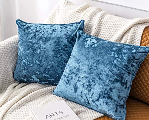 HORIMOTE HOME Pack of 2 Crushed Velvet Blue Large Square Cushion Covers for Sofa Couch Chair, Decorative Cushions Case Pillow Covers for Living room Bed Car 50x50cm
