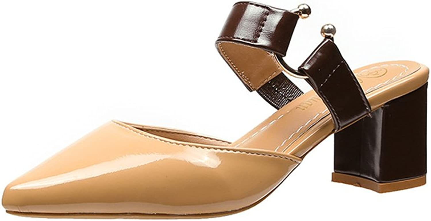 FORTUN Thick Heel Sandals Pointed Toe Women's shoes Half Drag Single shoes Elegant