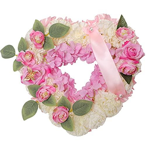 Rehobo Artificial Silk Funeral Flower Arrangements Heart Shaped Tribute Memorial Wreath  Coffin Grave Garland Faux Flower Butterfly with Ribbon  Tribute Gran, Nan Dad,Mum,Friend (Pink)