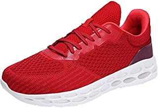 FYXKGLa New Men's Youth Outdoor Casual Shoes Summer Trend Breathable Men's Shoes Large Size Flying Woven Mesh Running Shoes (Color : Red, Size : 45EU)