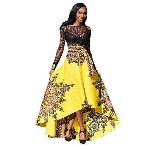 AmyDong – Falda larga para mujer, estampado africano, verano, playa, fiesta, bohemio, largo,  Amarillo,…