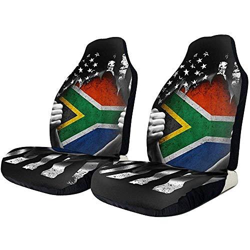 Beth-D autostoelhoezen, scheidt overhemden, vlag Zuid-Amerikaanse vlag, universele kussenbescherming, 1 paar stoelhoes voor emmer, geschikt voor mast