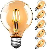 【Spezifikation】6 x G80 LED Vintage Glühbirnen, 2700K 4W 220V E27 fassung, Abmessungen: 120 x 80mm/4,76 x 3,15 Zoll 【Energiesparen und Kosten sparen】 Diese LED-Glühbirnen mit 4 Watt niedrigem Verbrauch sind ideal, um 40-W-Glühlampen oder Halogenlampen...