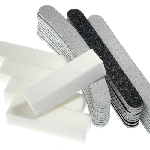 35-teiliges Feilenset Nagelfeilen - 10x Zebrafeile gebogen 100/180 + 10x Zebrafeile gerade 180/100 + 10x Nagelfeile schwarz gerade 100 180 + 5x Buffer weiß