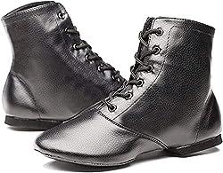 Women's Black Leather Split Sole Jazz Dance Boots Shoes(Adult/Unisex for Big Kid)