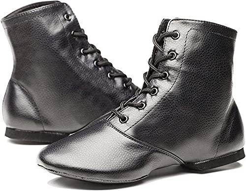 Women's Black Leather Split Sole Jazz Dance Boots Shoes(Adult/Unisex for Big Kid) (10.5, Black)