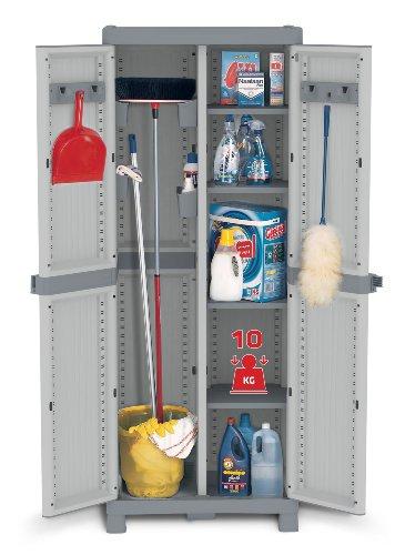 XL Kunststoffschrank Domino Wave - Besenschrank mit Riegel-Mechanismus und vielen Extras! XL Volumen und topp Qualität für Haushalt und Gewerbe! Maße: 70 x 43,8 x 181,8 cm