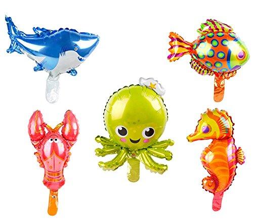 5Pack Marino: criatura mar Créatures hoja globos tiburón pulpo mar caballo Tropical peces langosta animales Mylar Globos para los niños fiesta de cumpleaños favorise Mini