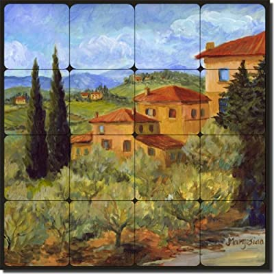 "Hillside Villas by Joanne Morris Margosian - Tuscan Landscape Tumbled Marble Tile Mural 16"" x 16"" Kitchen Shower Backsplash"