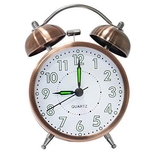 lunaoo Despertador Analogico Silencioso Sin Tictac, Reloj Despertador Vintage Retro con Luz, 3' Alarma Despertador de Doble Campana Fuerte Sonido Luminoso