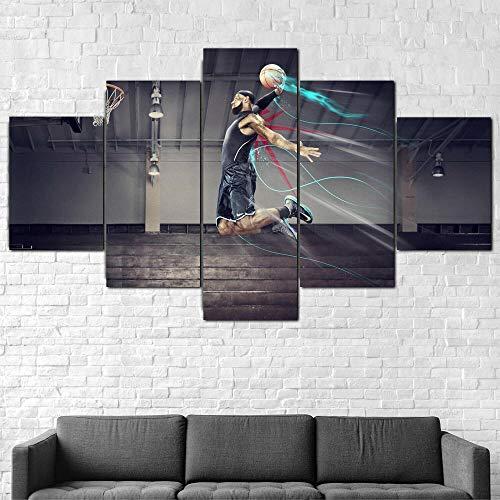 Cuadro Moderno En Lienzo 5 Piezas Baloncesto Superstar Dunk Cuadro De Pintura Póster De Arte Moderno Oficina Sala De Estar O Dormitorio Decoración del Hogar Arte De Pared 200X100CM